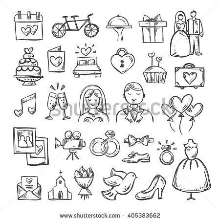 Wedding Icons Hand Sketched Vector Wedding Symbols Bride Groom Couple Love Rings Honeymoon Celebration Wedding Icon Hand Sketch Wedding Symbols
