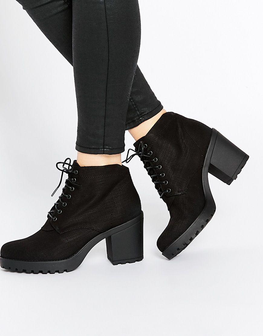 715a6960acb3 Image 1 of Vagabond Grace Black Textile Ankle Boots   Women s Boots ...