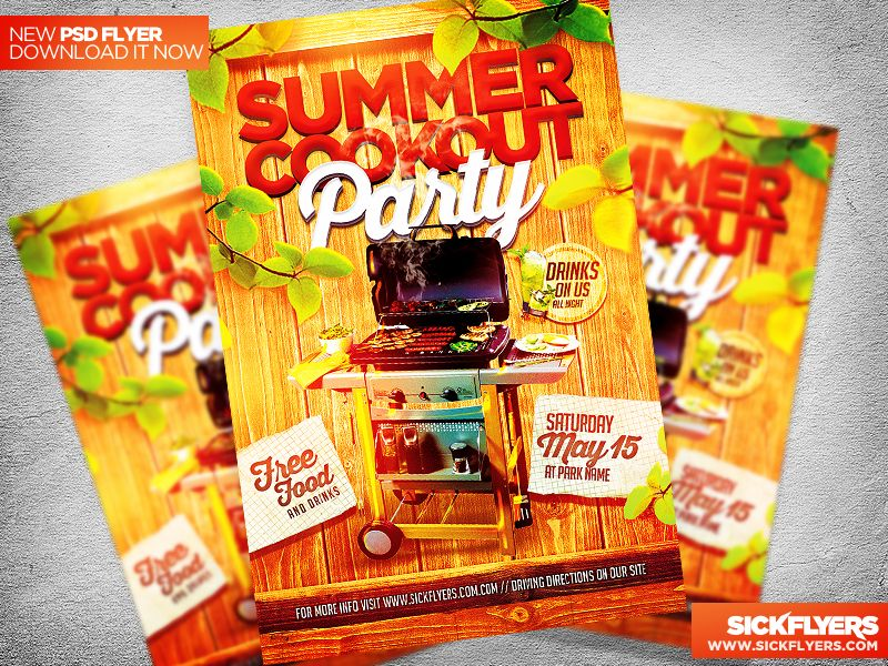 Summer Cookout Flyer Template Psd  Flyer Template Template And