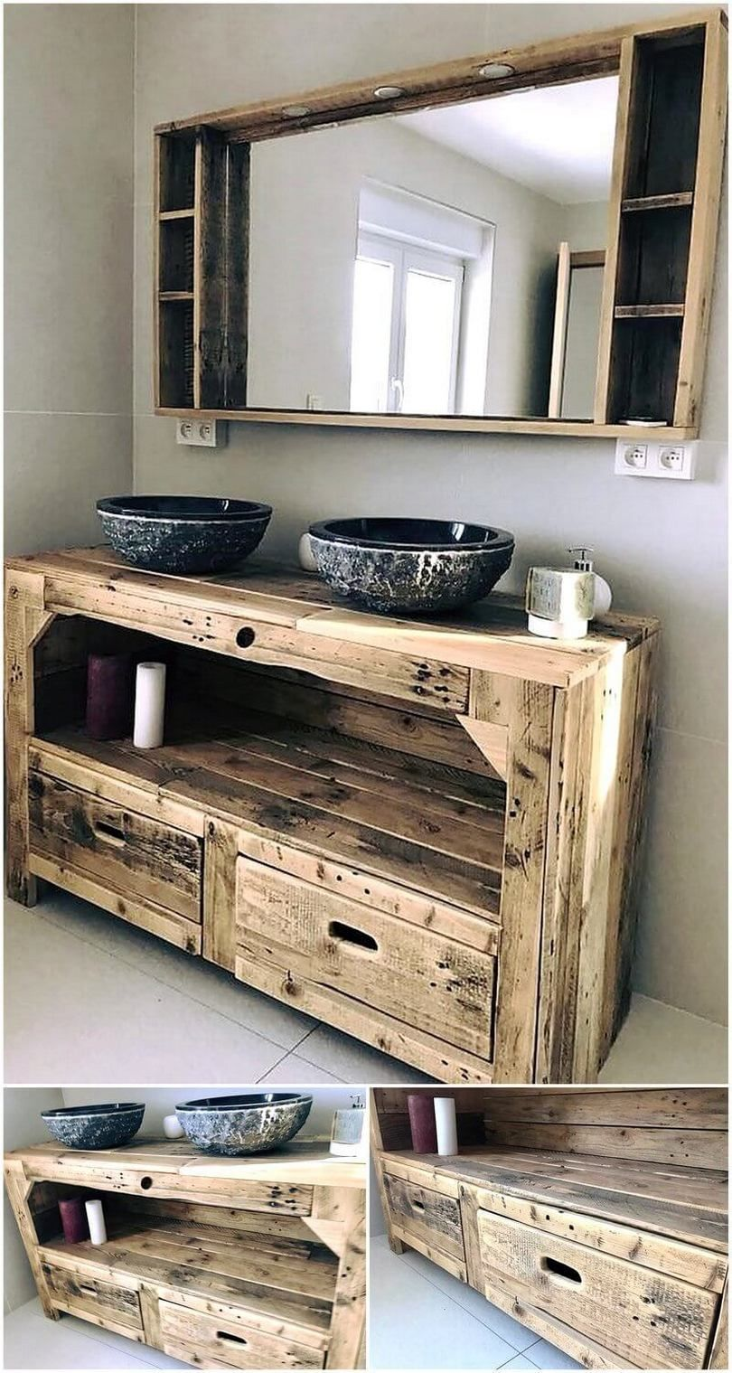 Rustic Creations Out Of Used Wood Pallets Creations Diyhomedecorwoodpallets Pallets Rus Idee Salle De Bain Deco Salle De Bain Bois Idees Salle De Bain