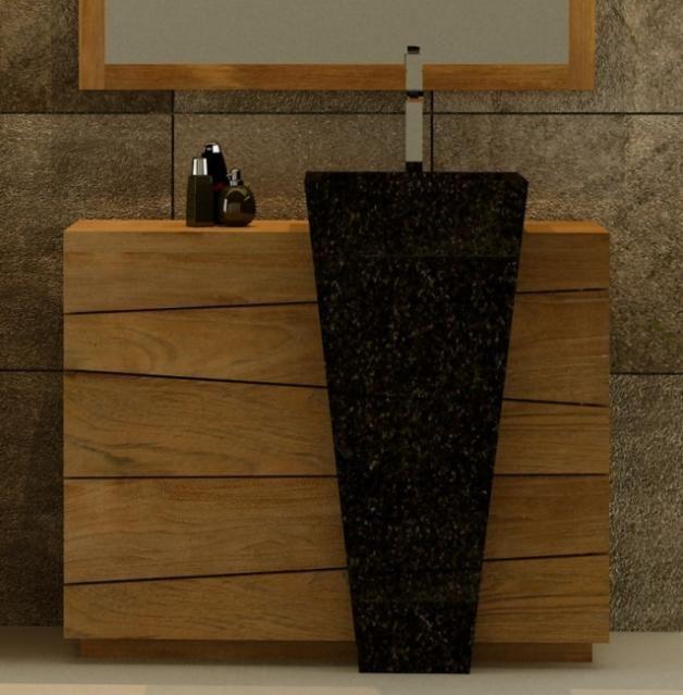 Meuble de salle de bain rhodes vasque noire l100 en teck for Meuble salle de bain bois et noir