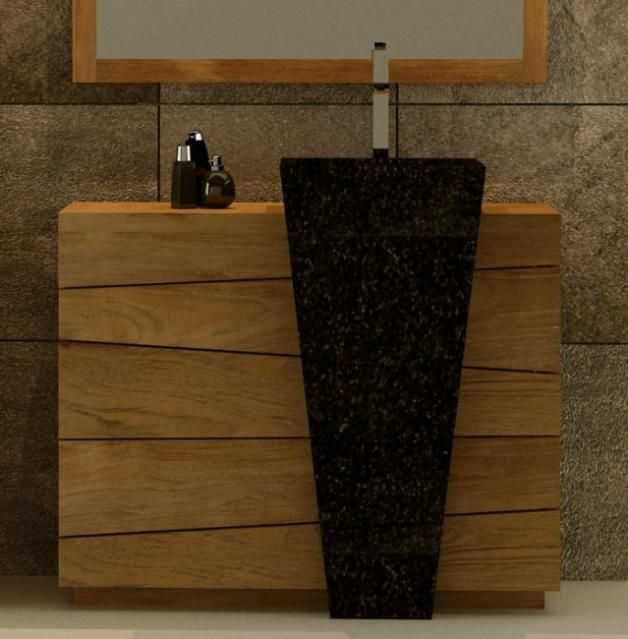 Meuble de salle de bain Rhodes Vasque Noire L100 en teck | salle ...