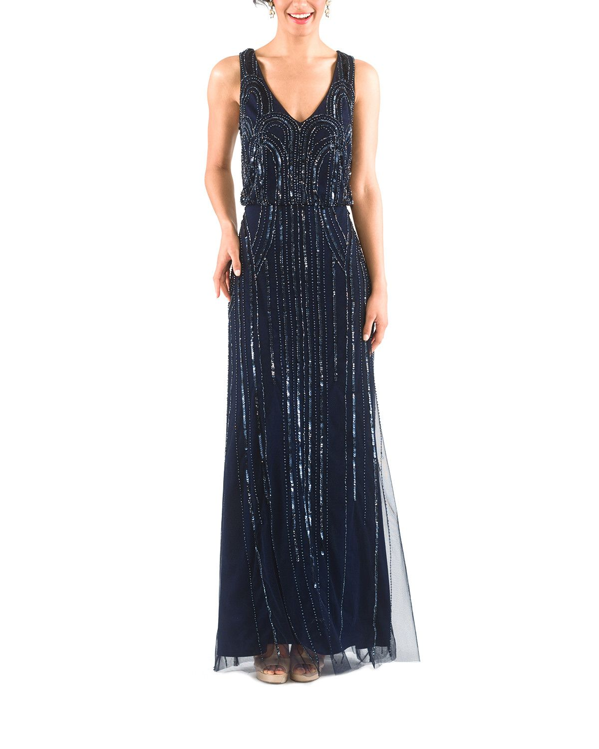 9bf2bf5e91 Midnight blue beaded bridesmaid dress by Adrianna Papell. The Adrianna  Papell Beaded Blouson Art Deco Long in Midnight is the perfect bridesmaid  dress for a ...