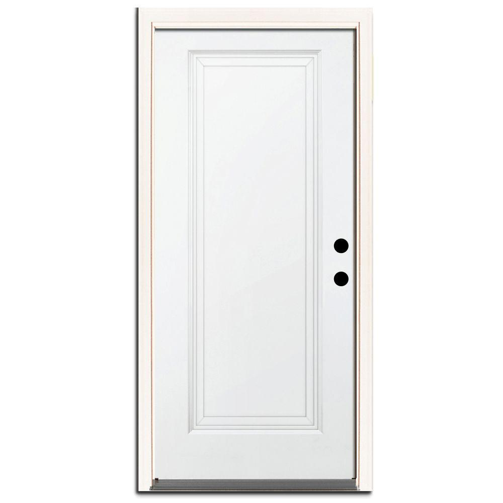 Steves Sons 36 In X 80 In Premium 1 Panel Primed White Steel Prehung Front Door With 36 In Right Hand Outswing And 6 In Wall St10 Pr 30 60rh Blue Interior Doors Prehung Interior Doors