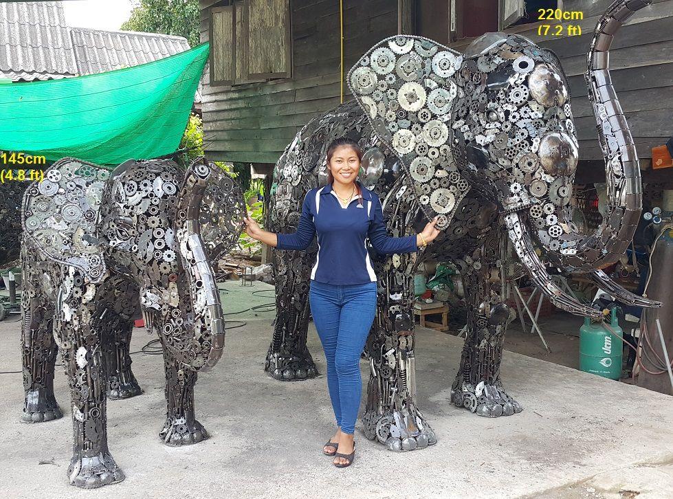 elephant statues, life size scrap metal art elephant ...