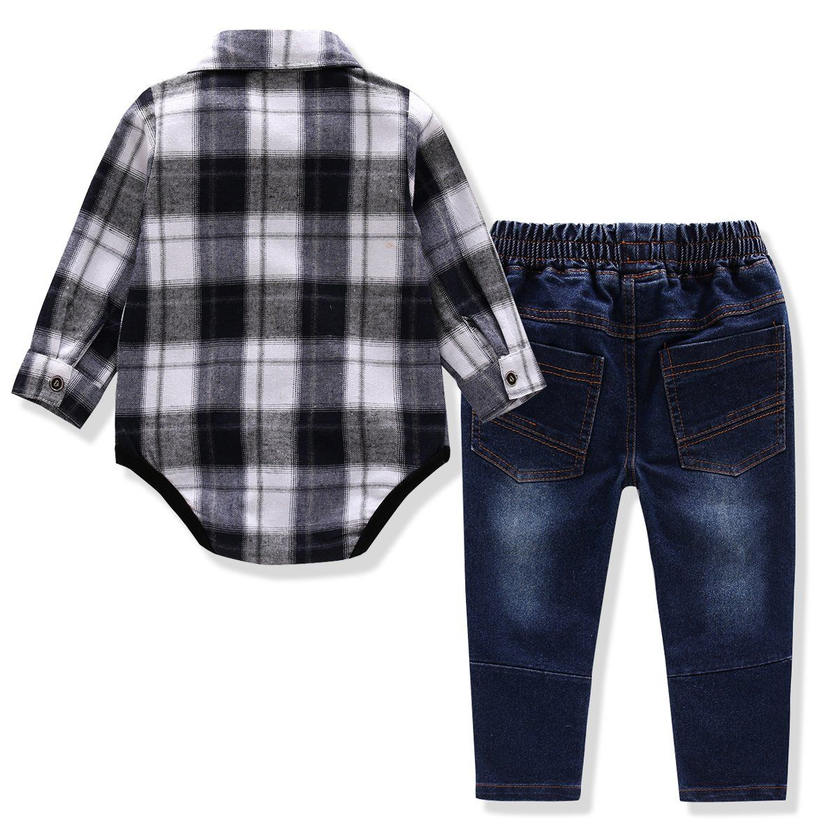 Flannel shirt for baby boy  Baby Boys  Pieces Clothes Set Bowtie Plaid Shirt Jeans Strap