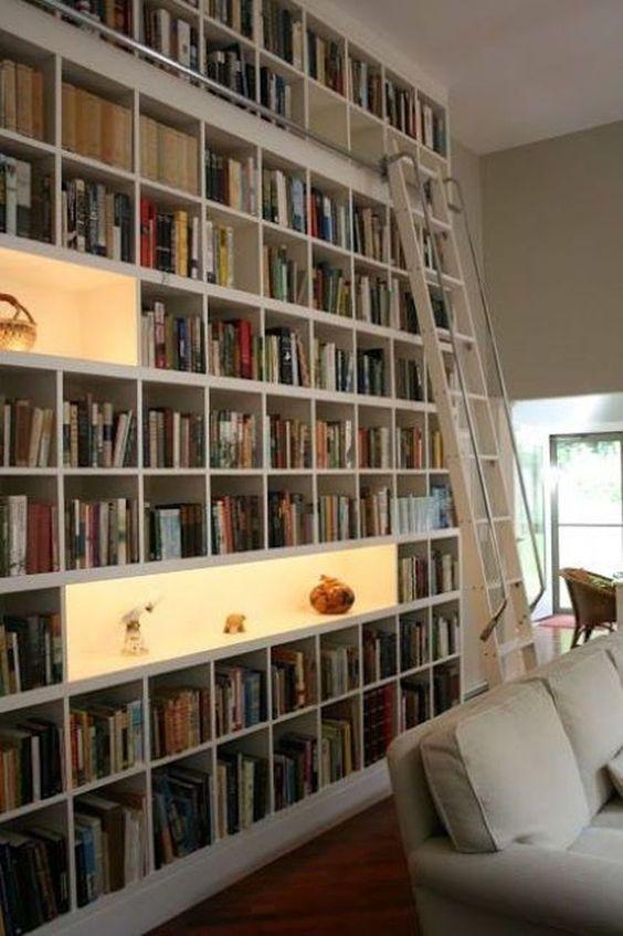 Stunning Home Library With Cool Shelf Lighting Book Shelves Bookshelf Ladder Display