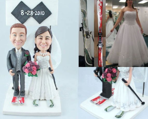 Skiing couple  Personalised wedding cake by UniqueCakeToppers #weddingcaketopper #weddingtopper #handmade #sporttopper
