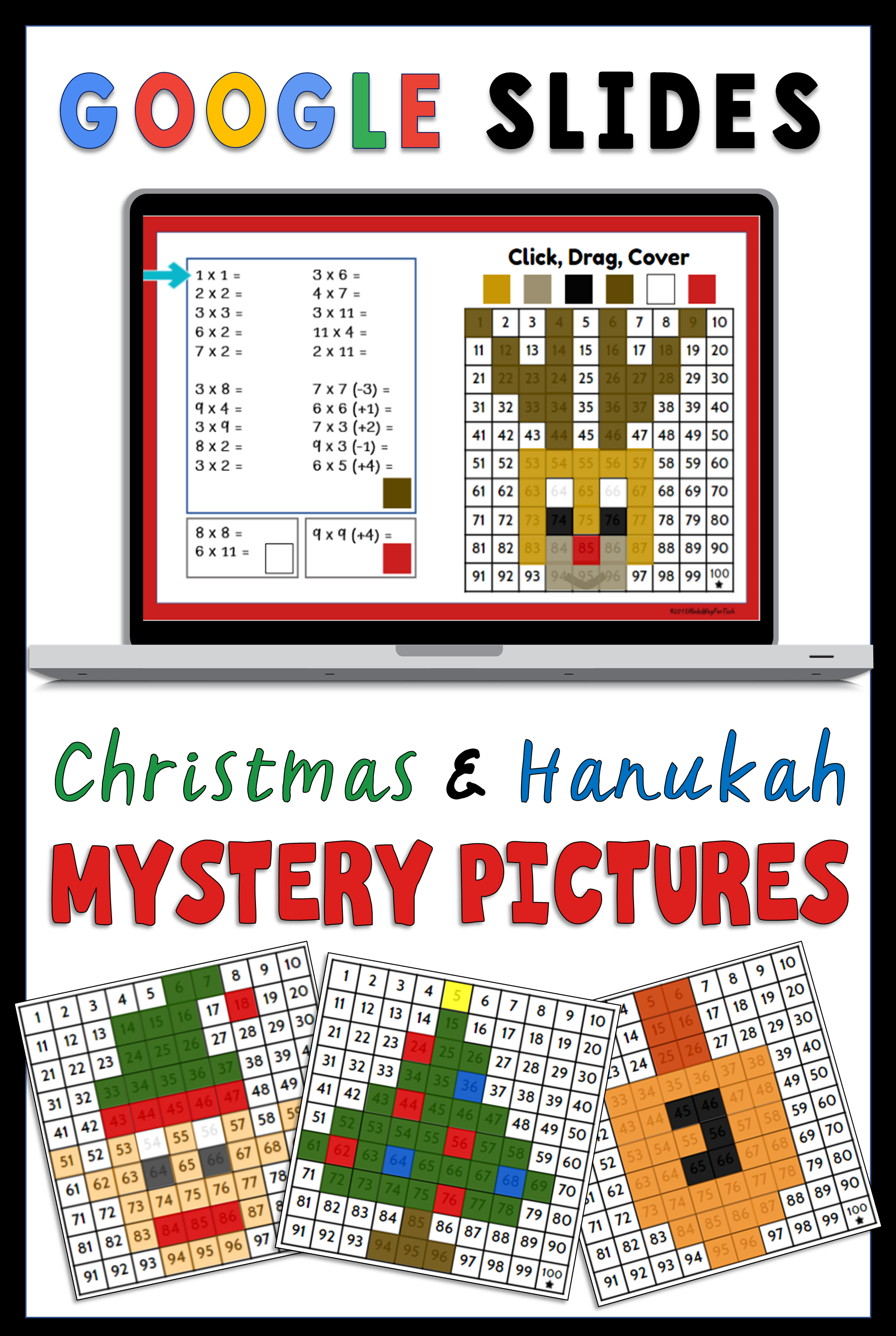 Google Slides Christmas and Hanukkah Multiplication Mystery Pictures ...