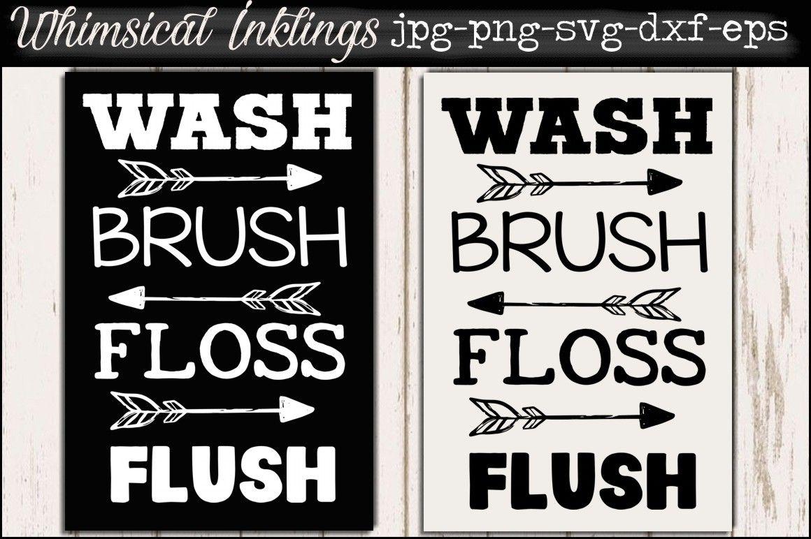 Bathroom Sign Bundle Bathroom Signs Wash Brush Floss Flush Wash Brush