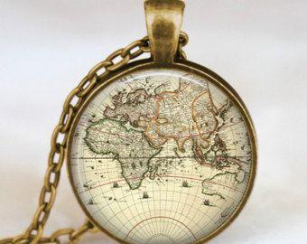 World map necklace vintage globe pendant world map pendant world map necklace vintage globe pendant world map pendant teacher gift world gumiabroncs Images