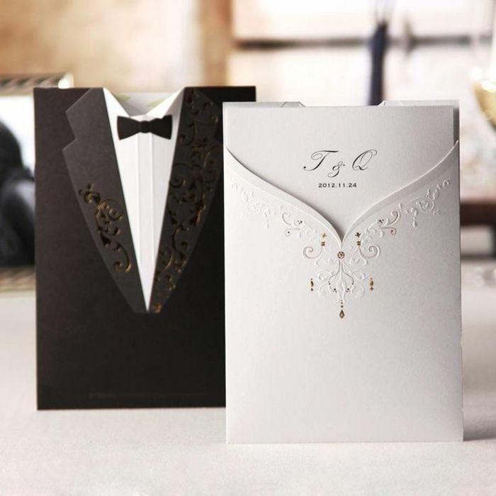 invitaciones creativas, invitaciones de boda con sobres en forma de - formal handmade invitation cards