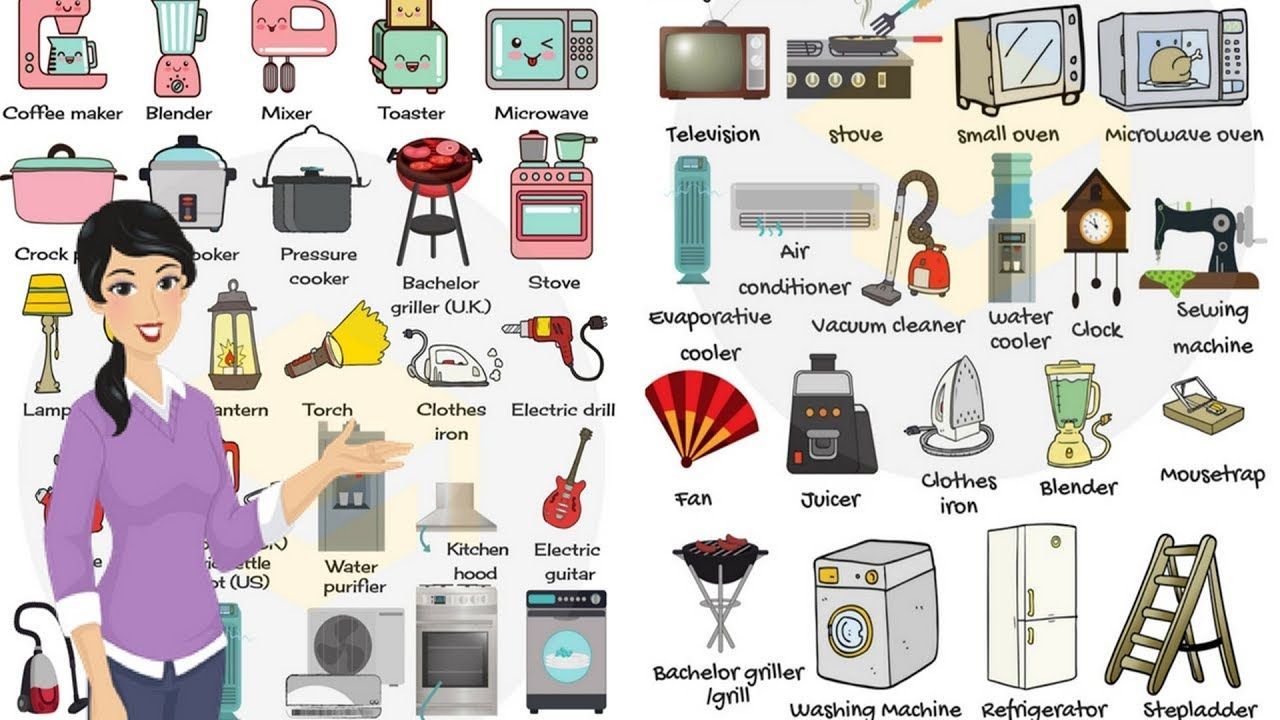 Household Appliances And Equipment Vocabulary In English Home Objects For Kids Yout Slate Appliances White Cabinets Household Appliances Vintage Appliances