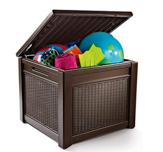 Keter All Weather Rugged Plastic Outdoor Patio Pool Storage Table