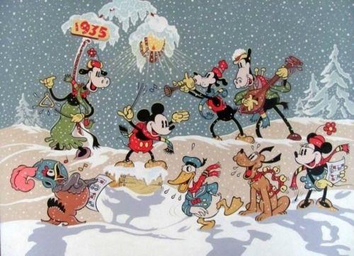 Walt Disney Studios Christmas Card For 1934 Disney Christmas Cards Disney Christmas Vintage Disney