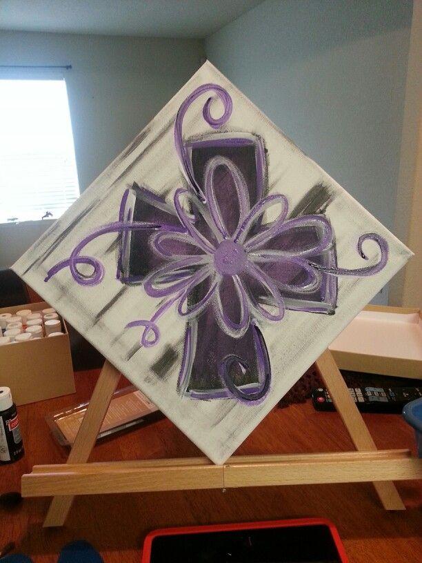 Purple cross canvas