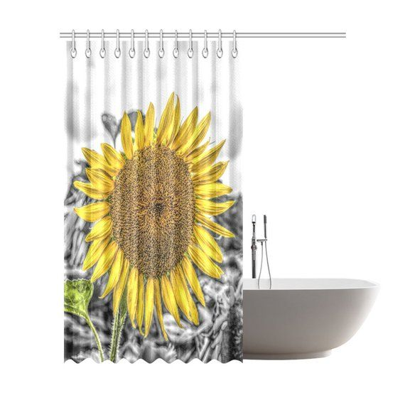 Sunflower Shower Curtain 6 Sizes To Choose From Includes Hooks