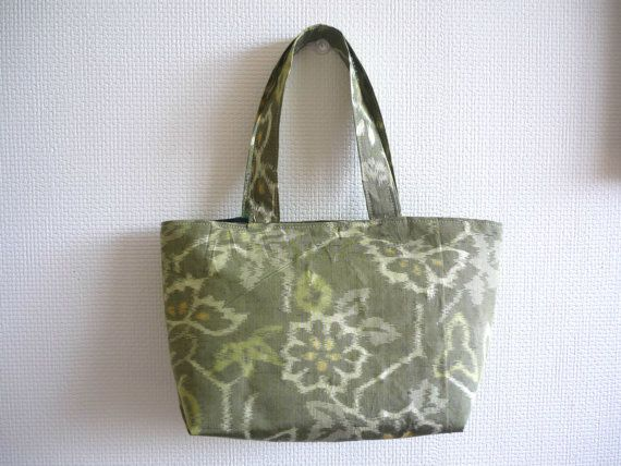 Moss green small tote bag with silk from Japanese by malmokkobags, $23.00