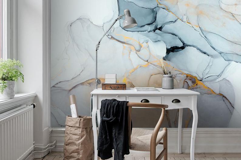 3d Watercolor Cold Tones Gold Foil Wallpaper Removable Self Etsy Mural Wallpaper Wall Murals Textured Wallpaper