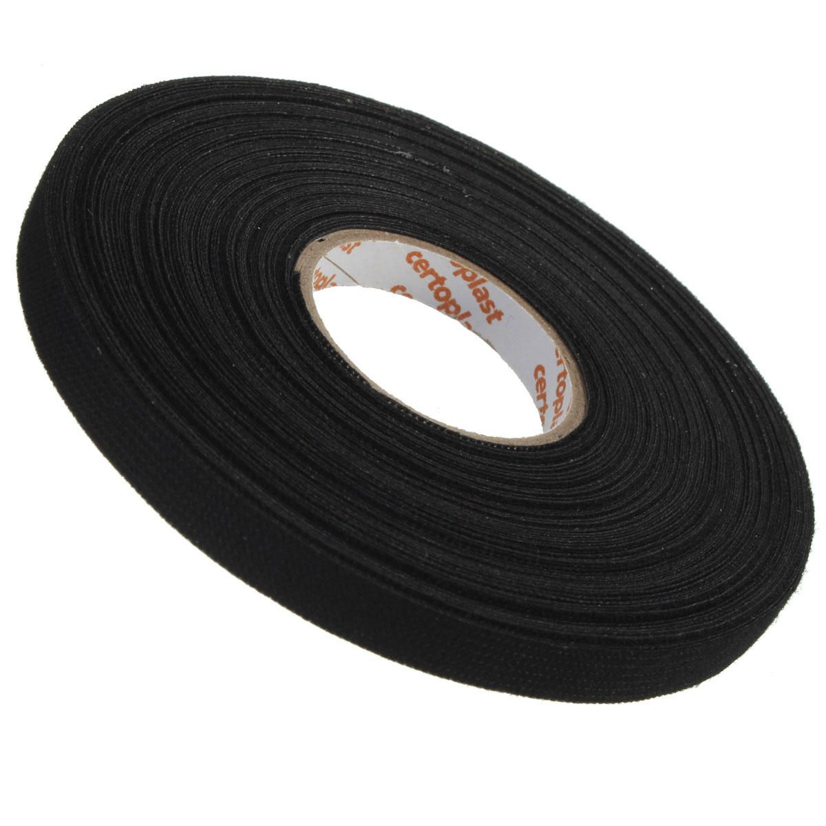 [US$2.80] 9mm x 25m Black Adhesive Cloth Fabric Tape Cable Looms Wiring Fabric Tapes #black #adhesive #cloth #fabric #tape #cable #looms #wiring #tapes #fabrictape