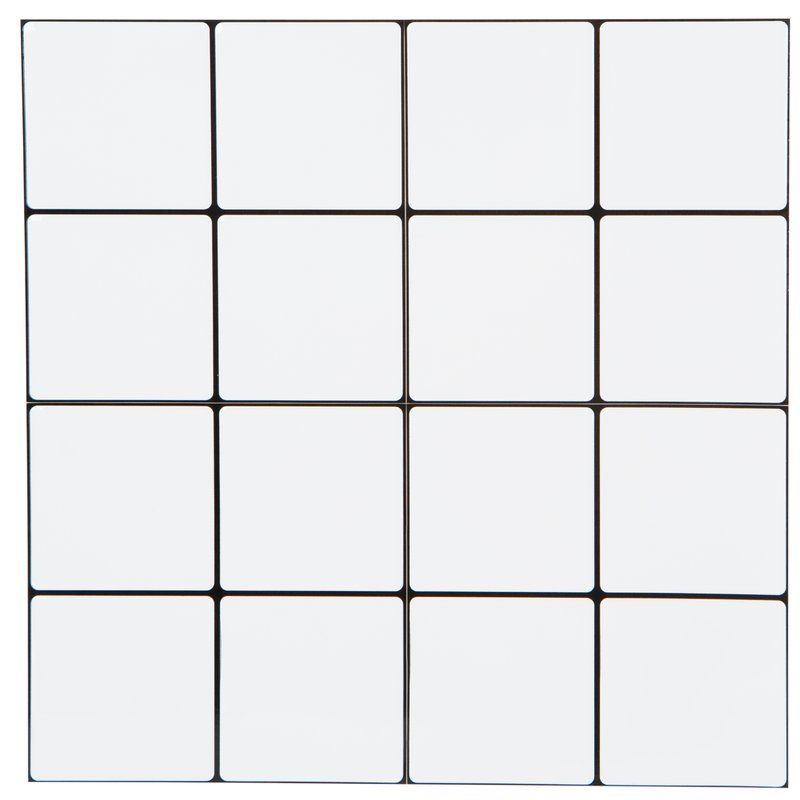 10 X 10 Pvc Peel Stick Mosaic Tile In Square White White Square Tiles Wall Tiles White Tiles Black Grout