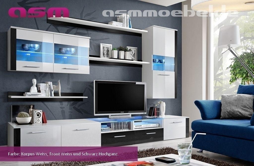 Wohnwand Wohnzimmer Anbauwand Schrankwand LOGO FRESH Hochglanz LED