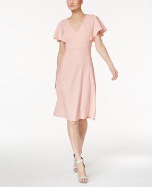 2ce4efd31aa Calvin Klein Flutter Sleeve A-Line Dress - Pink 16