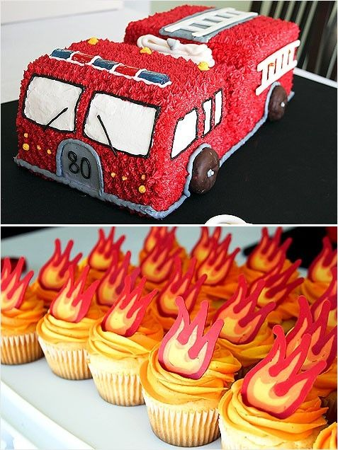 Fire Truck Cupcakes On Pinterest Fire Truck Cakes