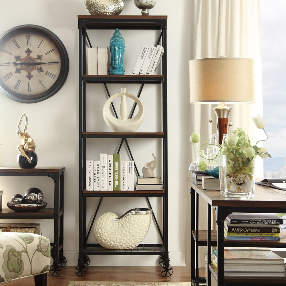 Tribecca Home Nelson Industrial Modern Rustic Bookcase