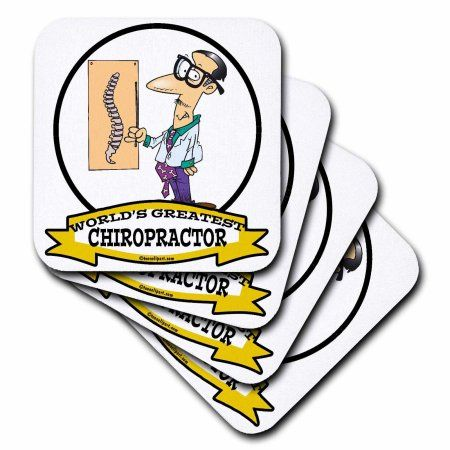 3dRose Funny Worlds Greatest Chiropractor Occupation Job Cartoon, Ceramic Tile Coasters, set of 4