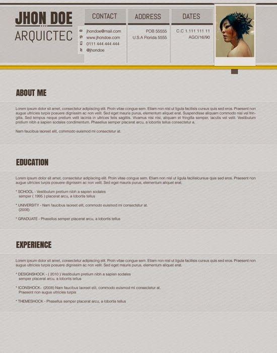 Plantilla editable para Currículum Vitae gratis en descarga directa ...
