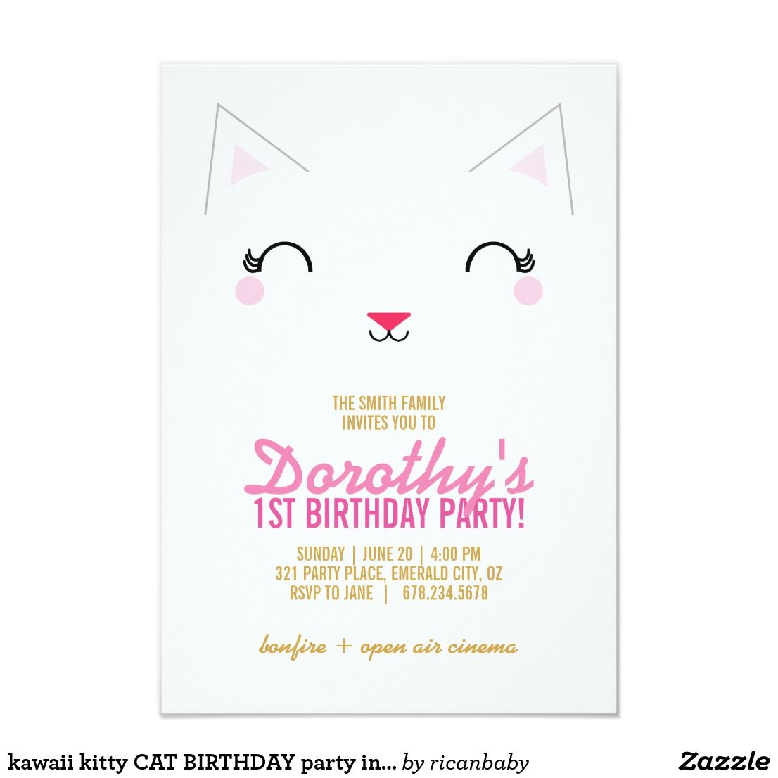 kawaii kitty CAT BIRTHDAY party invitation This adorable kitty ...