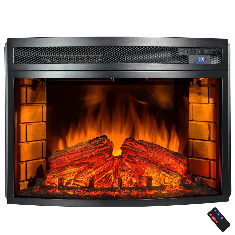 25 In Freestanding Electric Fireplace Insert Heater In Black With