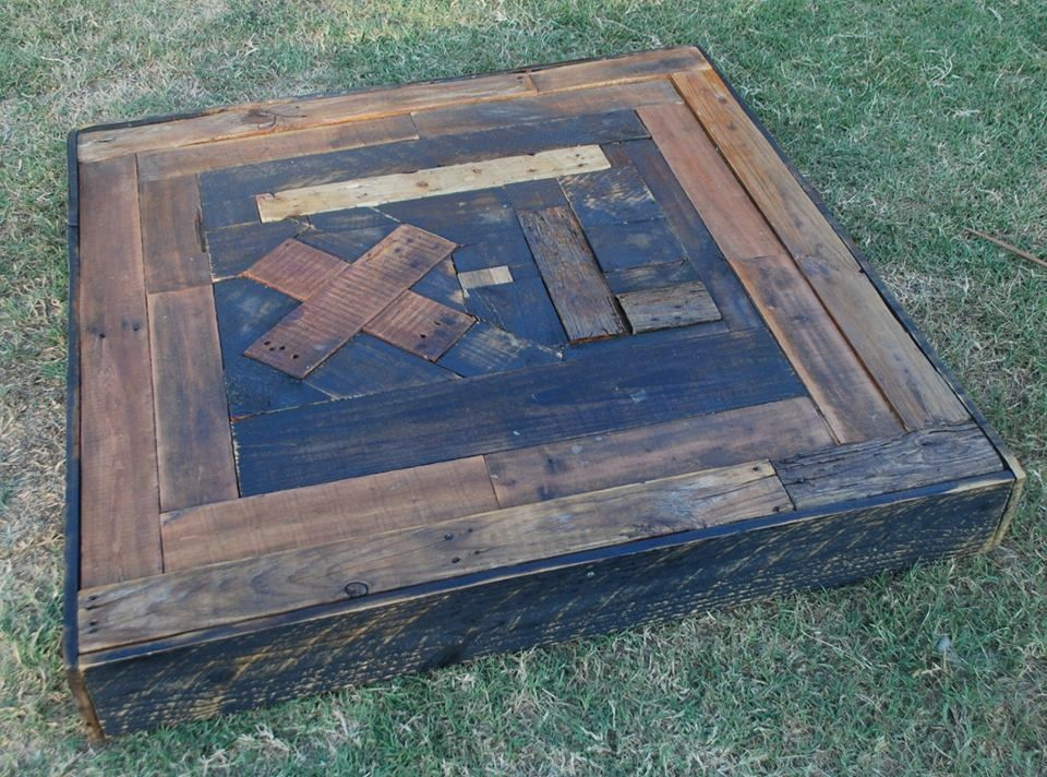 Custom Barn Wood Table Top With Personalized Brand Inlay In The Back At The  Ranch Collection