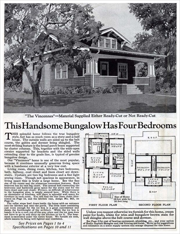 Love homes from the 1920s wardway homes the vincennes for 1925 bungalow floor plan