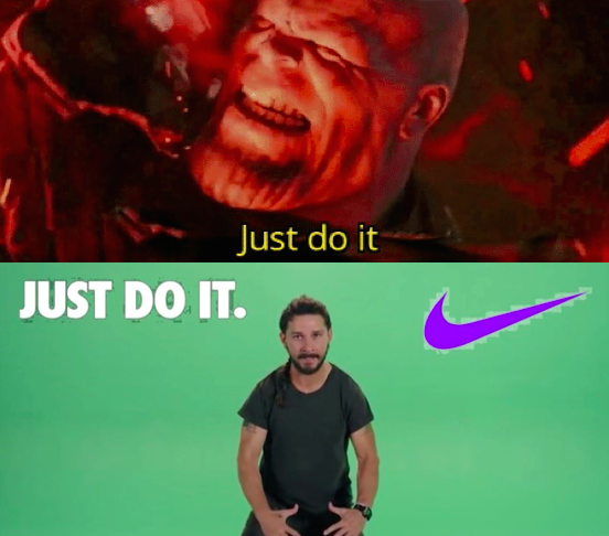 """In Endgame Thanos says """"Just Do It"""". This implies that at"""