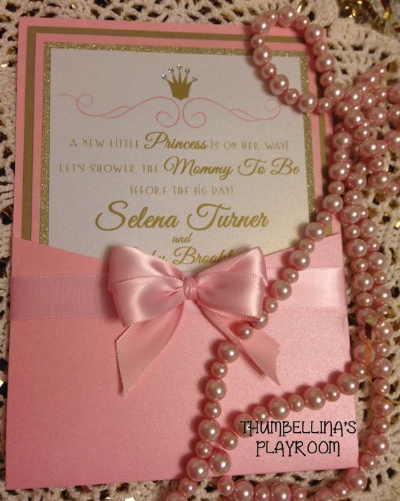 Love the bow 3 baby shower pinterest royal princess pink and gold custom baby shower invitation with free diaper raffle card filmwisefo Choice Image