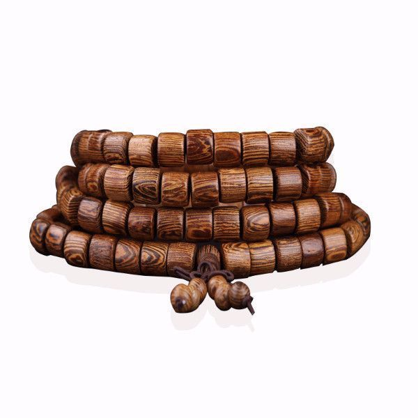 Cylindrical Wenge Wood Prayer Mala Beads Tibetan Buddhist Bracelet