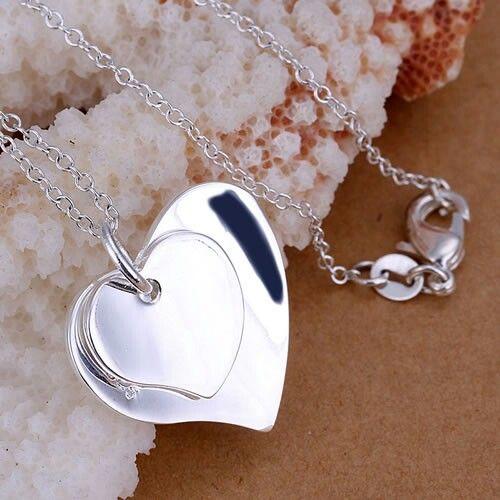 Collier avec cœur chaîne métal