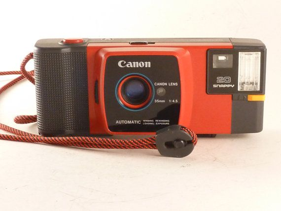 Working Red Canon 20 Snappy 35mm Point And Shoot Camera Point And Shoot Camera Camera Little Camera