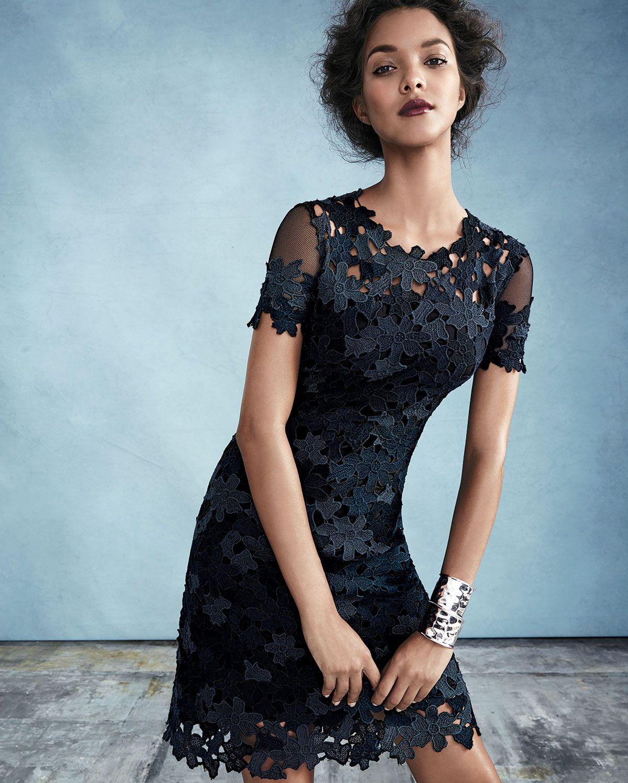 Elie Tahari Ophelia Short Sleeve Lace Sheath Dress Dresses Lace Fashion Fashion [ 1498 x 1200 Pixel ]