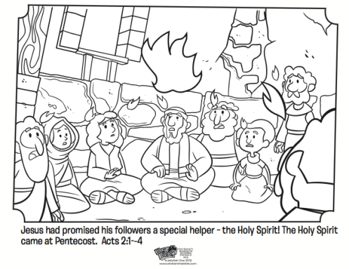 kids coloring page from whats in the bible showing the holy spirit coming upon the
