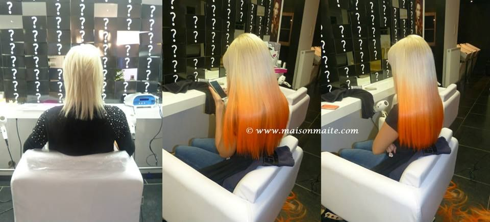 Before & after : perfect blonde copper orange ombre dip dye hair extensions created by our hairextensions team @MaisonMaite www.maisonmaite.com #GreatLengths #Hollywoodlook #Hollywoodhair #Celebrityhair