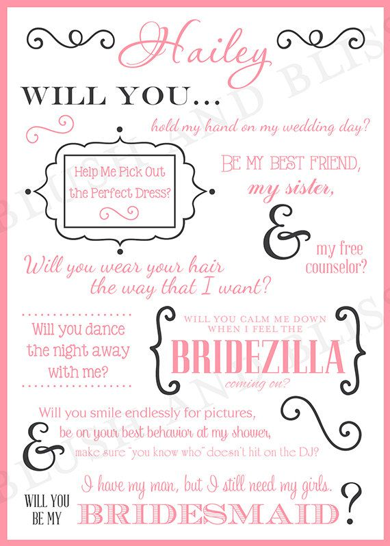 image about Printable Will You Be My Bridesmaid titled SALE Customized Printable Will By yourself Be My Bridesmaid by way of