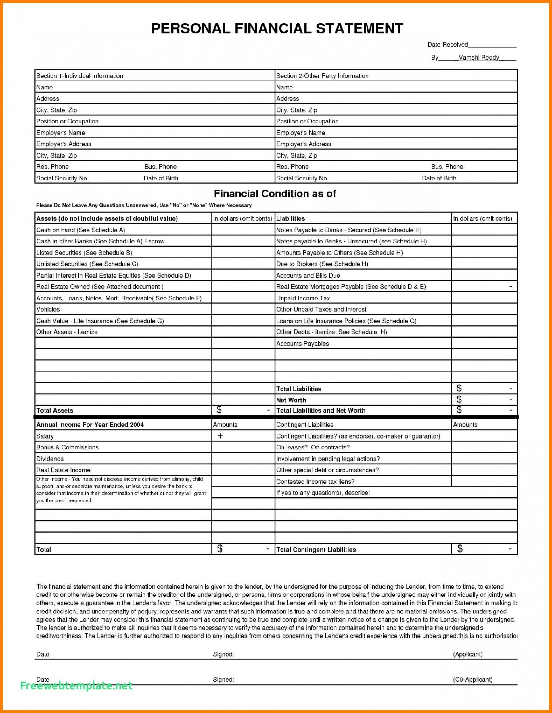 Unique Sample Personal Financial Statement Excel Exceltemplate