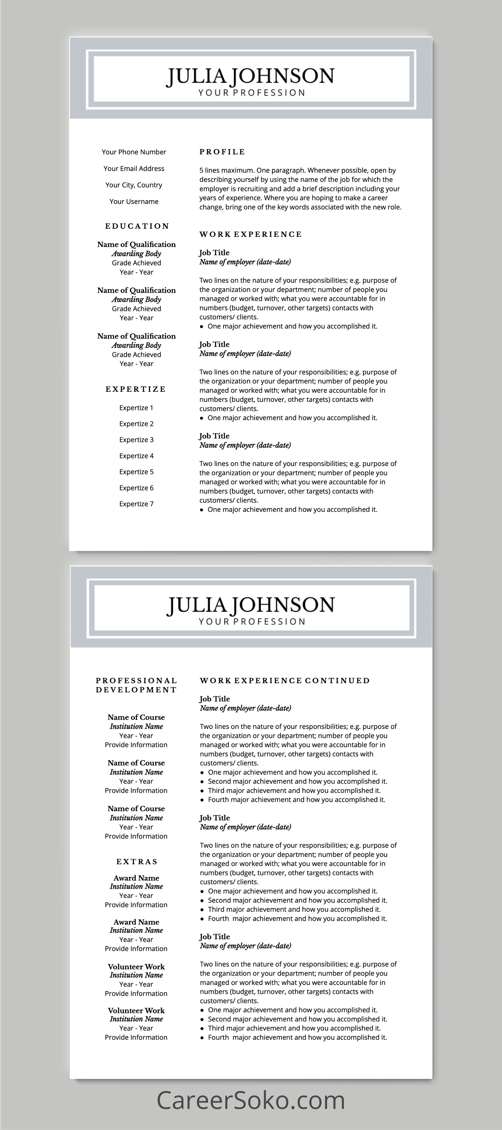 Resume Template for Google Docs I Cover Letter Included I