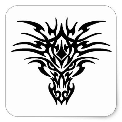 Photo of Face-Dragon-Tattoo Square Sticker | Zazzle.com