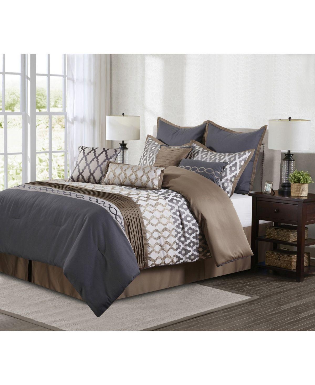 Caval 10 Piece Comforter Set Taupe Gray Queen Taupe Grey Parure De Lit Maison Lit