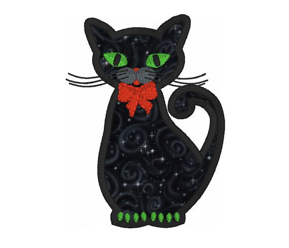 Cat Applique Machine Embroidery Design Halloween Black Cat