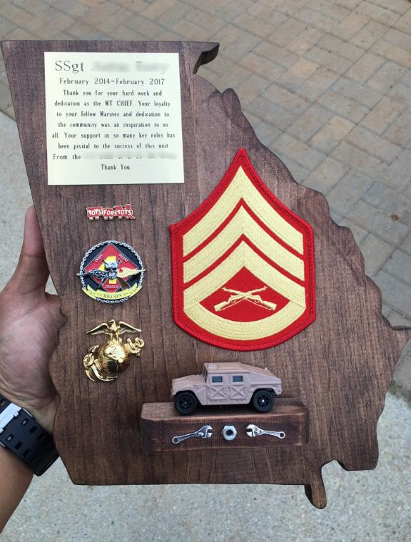 Usmc motor t going away plaque going away gifts i made for Marine corps motor t